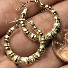 GOLD Bamboo Round HOOP earring real yellow 1.5g 20mm