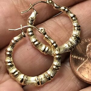 """GOLD Bamboo Round HOOP earring real yellow 20mm .75"""""""