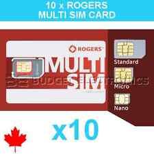 10pcs Rogers Triple Format Nano Micro Regular Standard Sim Card 4G LTE Canada
