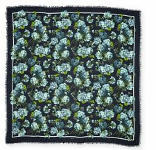 NEW Authentic Gucci New Blooms Square Shawl Modal Silk Midnight Blue 2019