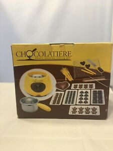 NIB CHOCOLATIERE Electric Melting Pot w/Moulds Rack Skewers Spatula & More 62744