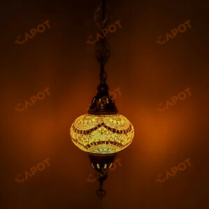 Turkish Moroccan Handmade Glass Mosaic Ceiling Hanging Chandelier Lamp & Bulb-L