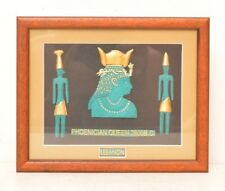 VTG Framed Tribal Folk Art Phoenician Queen Ancient Lebanon Hieroglyphic Goddess