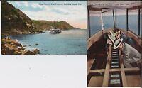 Glass-bottom boats, busy Avalon Bay at Santa Catalina Island CA, on 3 postcards