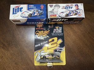 Lot of 3- 1:64 Rusty Wallace Diecast Race Cars