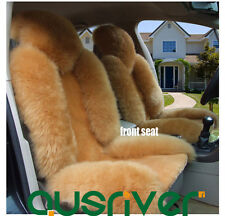 Premium Quality Camel 4Pcs Australian Sheep Skin Car Long Wool Seat Cover Set
