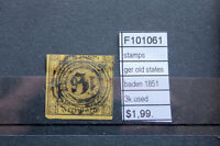 STAMPS OLD STATES GERMANY BADEN 1851 3K. USED (F101061)
