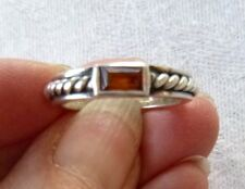 Vintage Sterling Silver Ring Decorated Band with Amber Enhancement Sz. 6.25