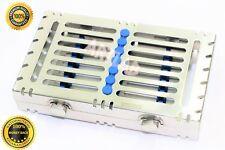 German Dental Autoclave Sterilization Cassettes Racks Box For 7 Instruments Blue