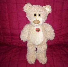 First & Main TENDER TEDDY Tan Fuzzy Fur 11in Plush Red Plaid Heart #1815