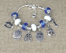 "7""-8"" Silver Armor Of God Charm Bracelet, Blue, White Crystal Beads Sword Gift"