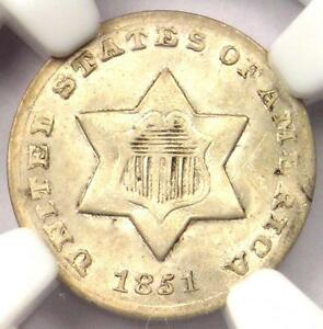 1851-O Three Cent Silver Piece 3CS - NGC UNC Details - Rare BU MS Certified Coin
