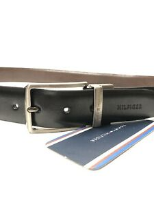 Men's Tommy Hilfiger Reversible Leather Belt Size 32 To 34 Waist Black