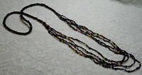 MULTI COLOR BLACK GLASS SEED BEADED MULTI STRAND BOHO NECKLACE 35 INCH
