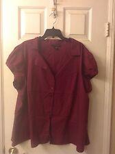 Ashley Stewart Cranberry Button Front Cap Sleeve Plus Size 24