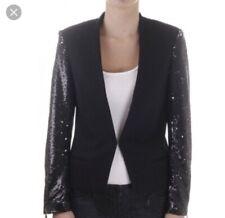 Maison Scotch Black Wool Blend Sequin Blazer Jacket Holiday Size 1/ Small