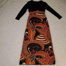 Vtg Union Label 60s Psychedelic Paisley Orange Maxi Dress Boho Mod Hippie Medium