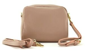Ladies small light PINK LEATHER Italian shoulder bag clutch handbag crossbody