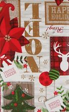 Festive Cheer Christmas Reindeer Vinyl Flannel Back Tablecloth 52 x 70
