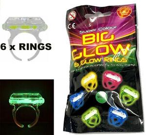 Pack of 6 GLOW RINGS BOY GIRLS TOY Glow in Dark GADGET BIRTHDAY PARTY BAG FILLER