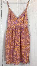 Milly New York Purple Orange Animal Print 100% Silk Sleeveless Dress Size 2