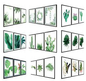Set of 3 Modern Wall Art Prints Living Room Bedroom Botanical Tropical A4/A3
