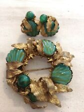 MIRIAM HASKELL brooch and earrings - 40s 50s RARE green sea shell seaweed leaves