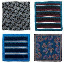 Lot of 4 Men's SANTOSTEFANO Hand Rolled Silk Handkerchief Pocket Square Bundle