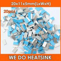 20pcs 20x11x5mm Aluminum Heatsink Radiator Cooler With Thermal Adhesive Tape PAD