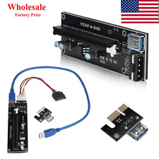 2x PCI-E Express Powered Riser Card W/ USB 3.0 extender Cable 1x to 16x Monero