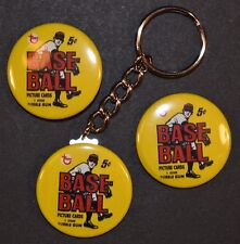 """1968 Topps Baseball Wrapper Set of 3 Key Chain, Magnet and Pinback Button 1.50"""""""
