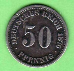 50 Pfennig 1876 D, Silber aus dem Kaiserreich Erhaltung: siehe Scan