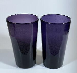 "Set of 2 - Mexican Hand Blown Purple Bubble Glass - TUMBLER, HIGHBALL - 21oz -6"""