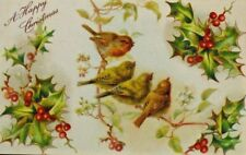 EARLY Victorian 1900s  Christmas Bird Embossed  POSTCARD Holly Leaves