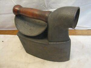 Antique Charcoal Chimney Sad Iron Door Stop Bless & Drake Man Face Wood Handle