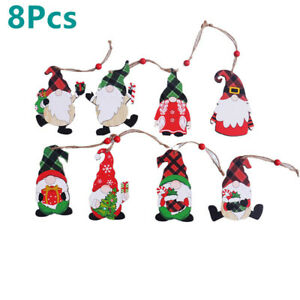 Gnome Shaped Wood Hanging Sign Christmas Party Gift Wall Decoration-8PCS