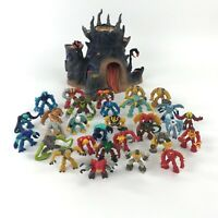 Gormiti lot of 29 Action Figures and Lords of Nature Fire Mountain Play Set