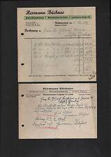 RÜCKMARSDORF, 2 x Rechnung 1942/45, Hermann Büchner Baumaterialien Holzhandlung
