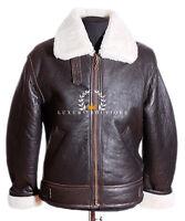 Men's Shearling B3 Brown Real Sheepskin World War 2 Bomber Leather Flying Jacket