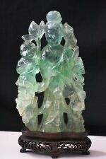 Asian Antiques 19th Qing Dynasty Green crystal carved Kuan Yin  #002