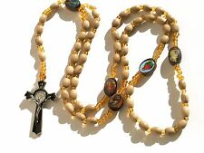Rosary - wood Prayer Beads - Rosary Crucifix Necklace RRN-14E55WD