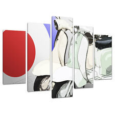 5 Piece Red Blue Scooter Canvas Art Pictures Boys Bedroom Prints 5150