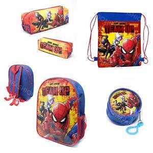 SPIDERMAN TEAM Backpack School Rucksack Kids Boys Pe Bag Pencil Case Coin Purse