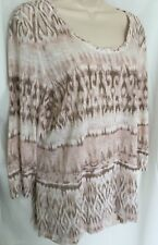 CHICO'S 2 Womens Tunic Top Beige Pink Rayon Knit L 12 Shirt