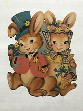 Vintage Dennison Easter Bunny Wall Decoration Boy and Girl Bunny Holding Hands