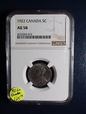 1922 Canada Nickel NGC AU58 5C Coin PRICED TO SELL RIGHT NOW!