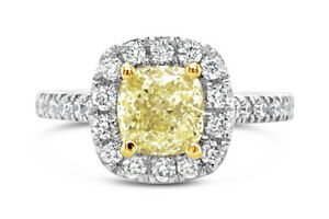 2.09ct Natural Fancy Yellow Diamond and Platinum Ring