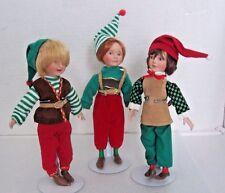 3 Boy Elf Pixie Dolls & Stands Santa's Helpers Paradise Galleries Patricia Rose