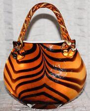 Italian Night Light Hand Blown Glass Purse Handbag Tiger Striped Orange/Brown