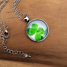 Lucky shamrock clover glass dome pendant. St. Patrick Irish jewellery gift